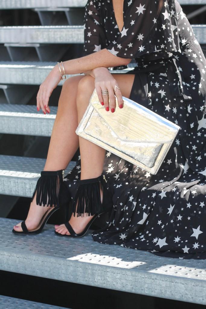 hologram clutch fringe shoes star print maxi dress