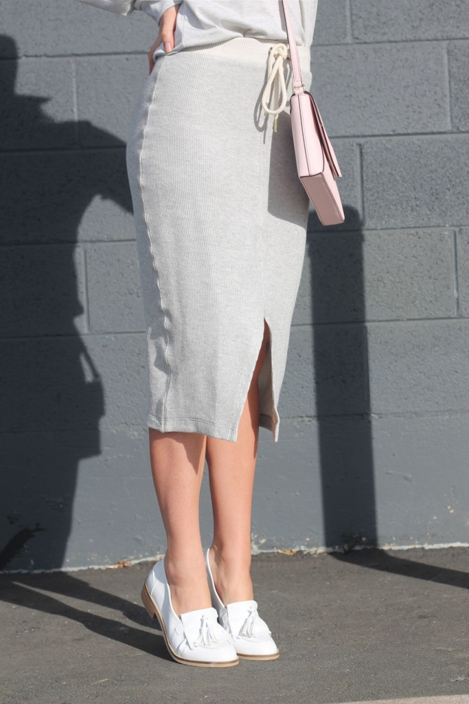 white loafers with skirt
