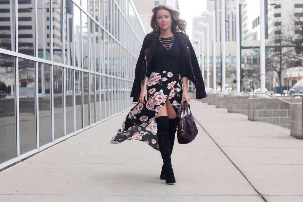 floral maxi skirt for winter