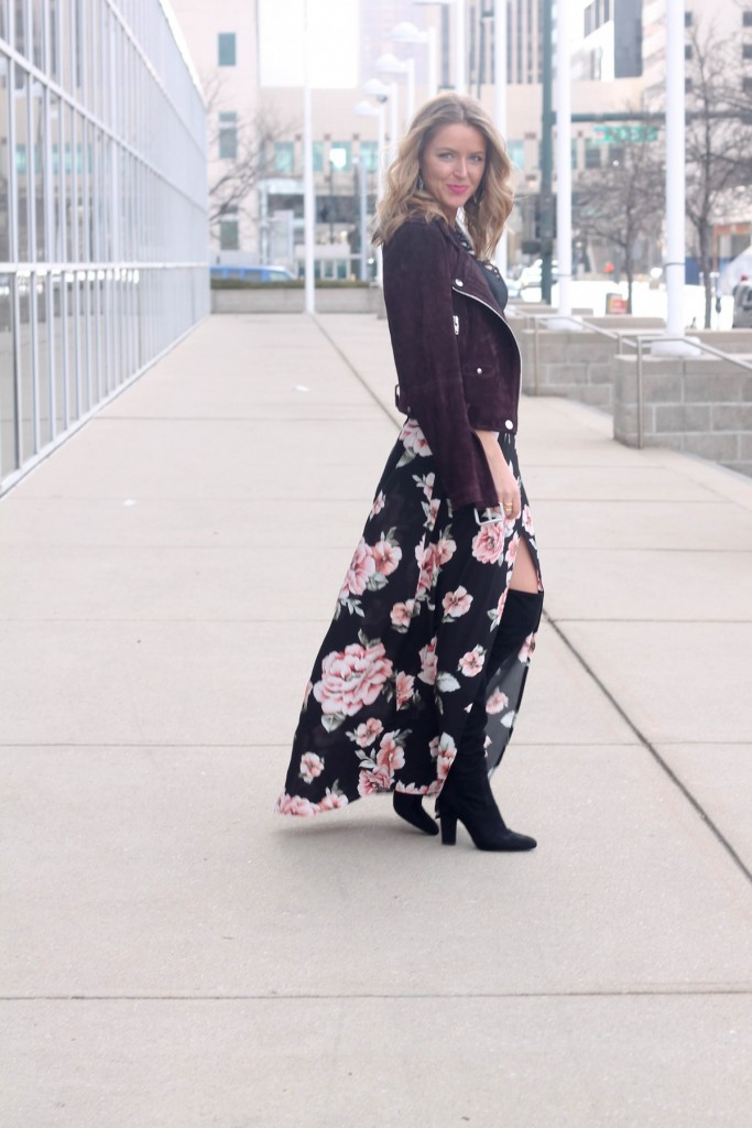 floral maxi with moto jacket for cold weather