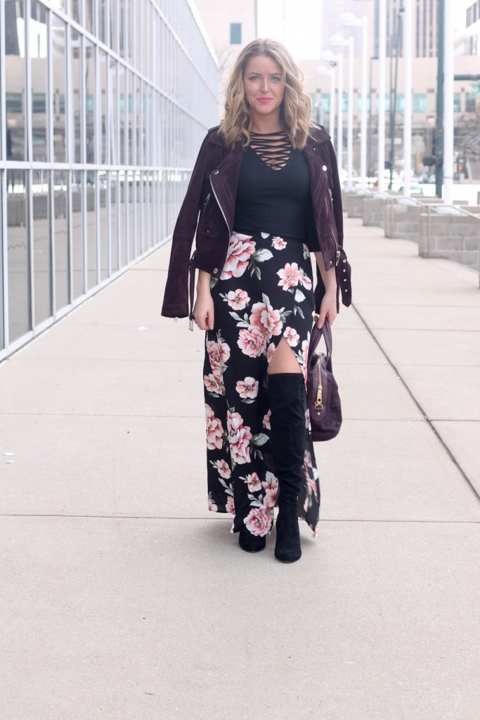 floral skirt for winter with over the knee boots