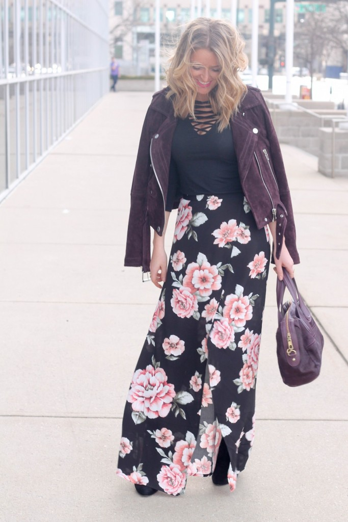 Floral slit maxi skirt and moto jacket