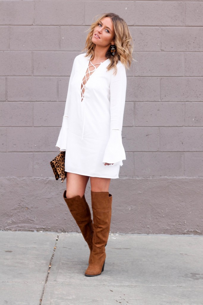 Bell sleeve dress and boots boho look