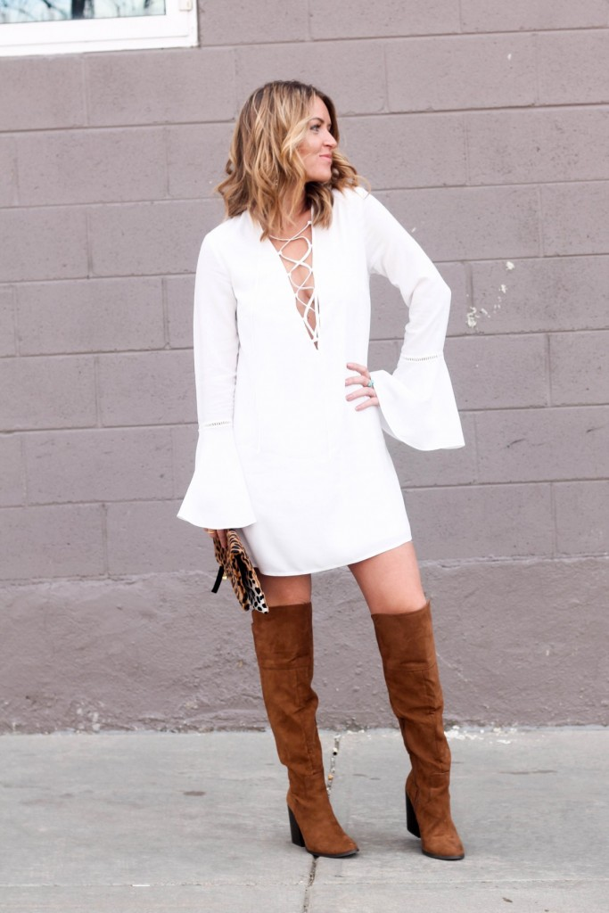bell sleeve lace up dress and boots