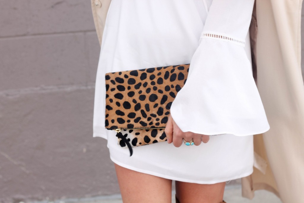 Leopard clare v clutch and bell sleeve