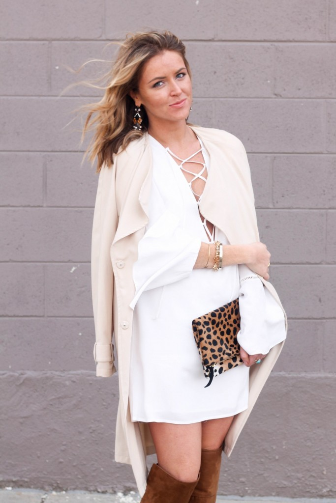 Spring white dress and trench coat outfit