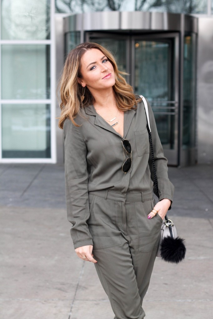 Army green utility jumpsuit