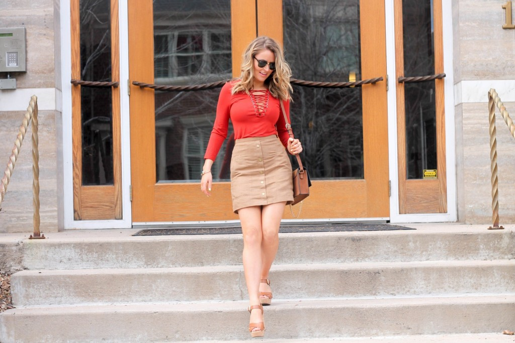 Suede Skirt and lace up top