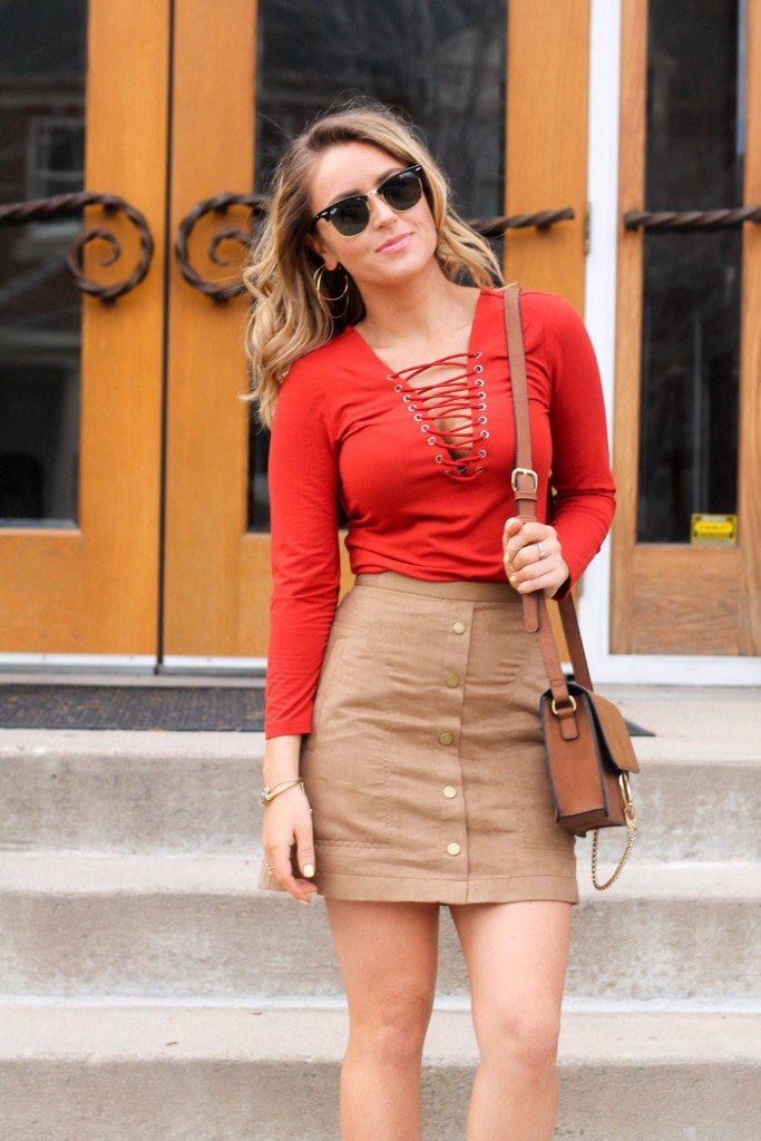 Lace up skirt and suede skirt ray bans