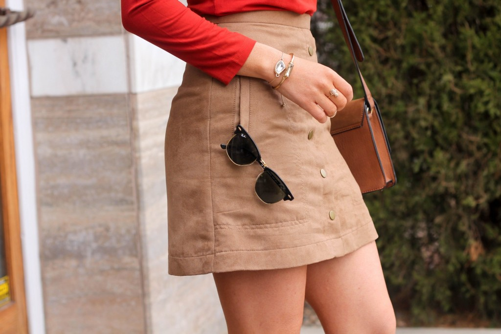 ray ban club master suede skirt
