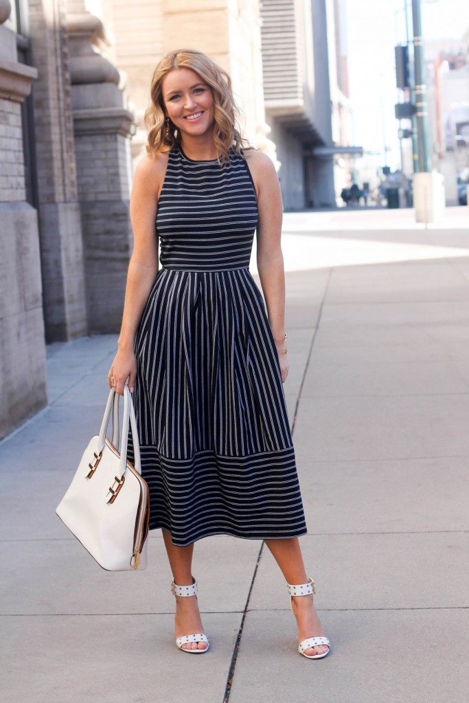 striped skater dress girly outfit