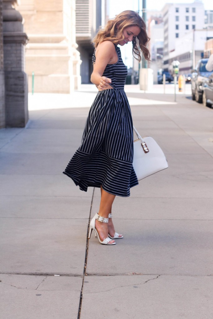 girly pinstriped dress