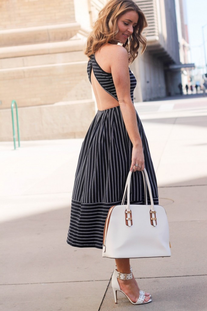 backless stripped dress