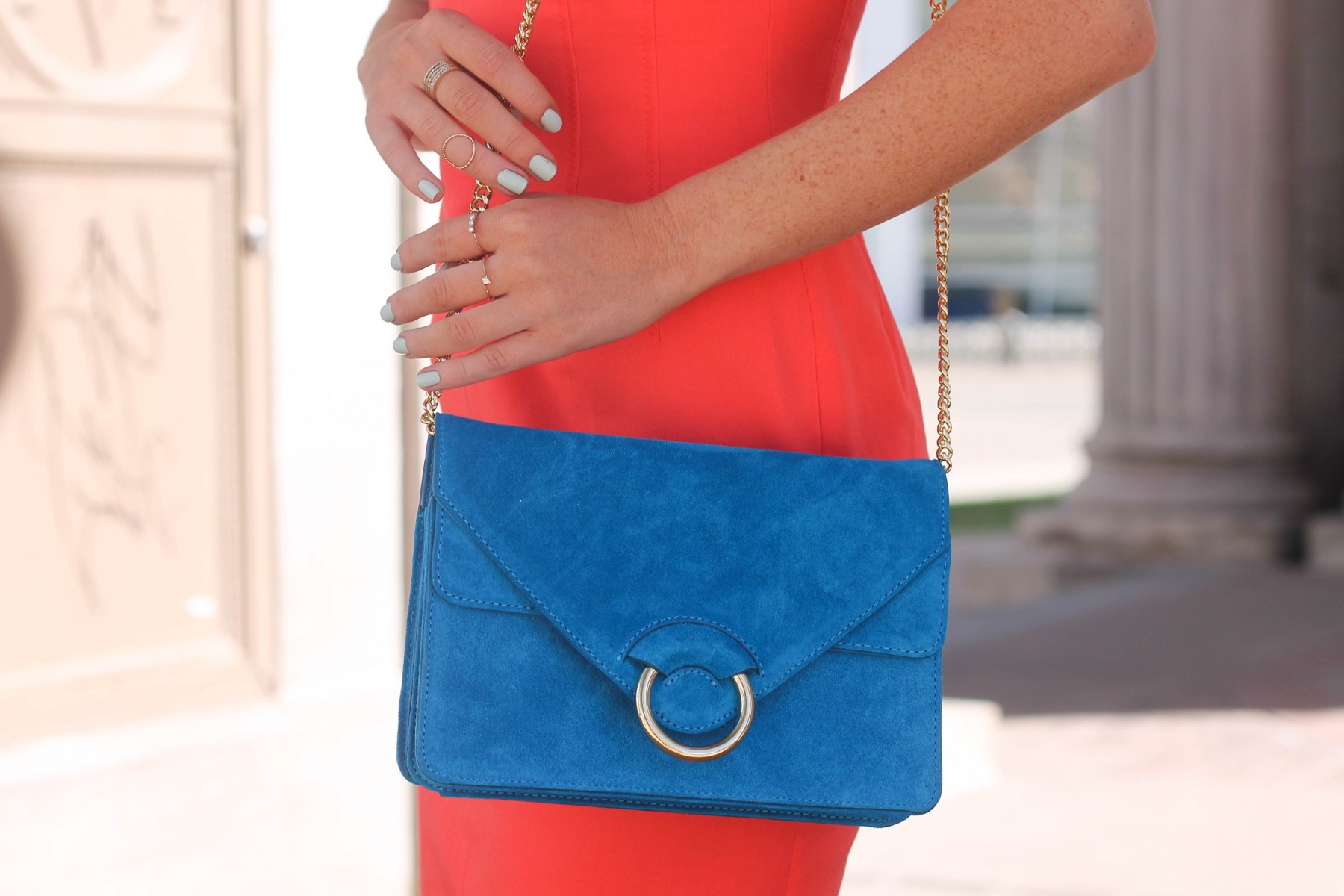 turquoise structured bag