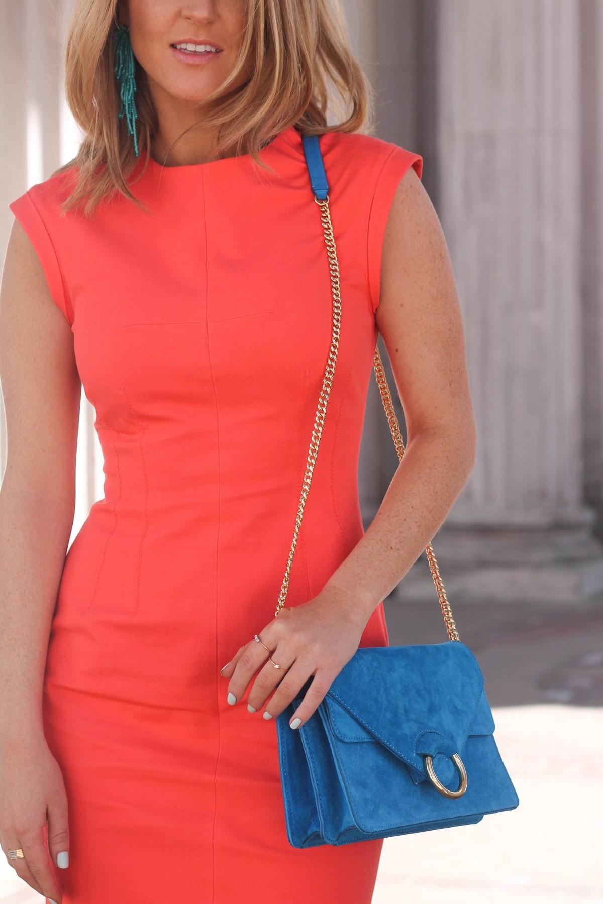 coral sheath dress spring office wear