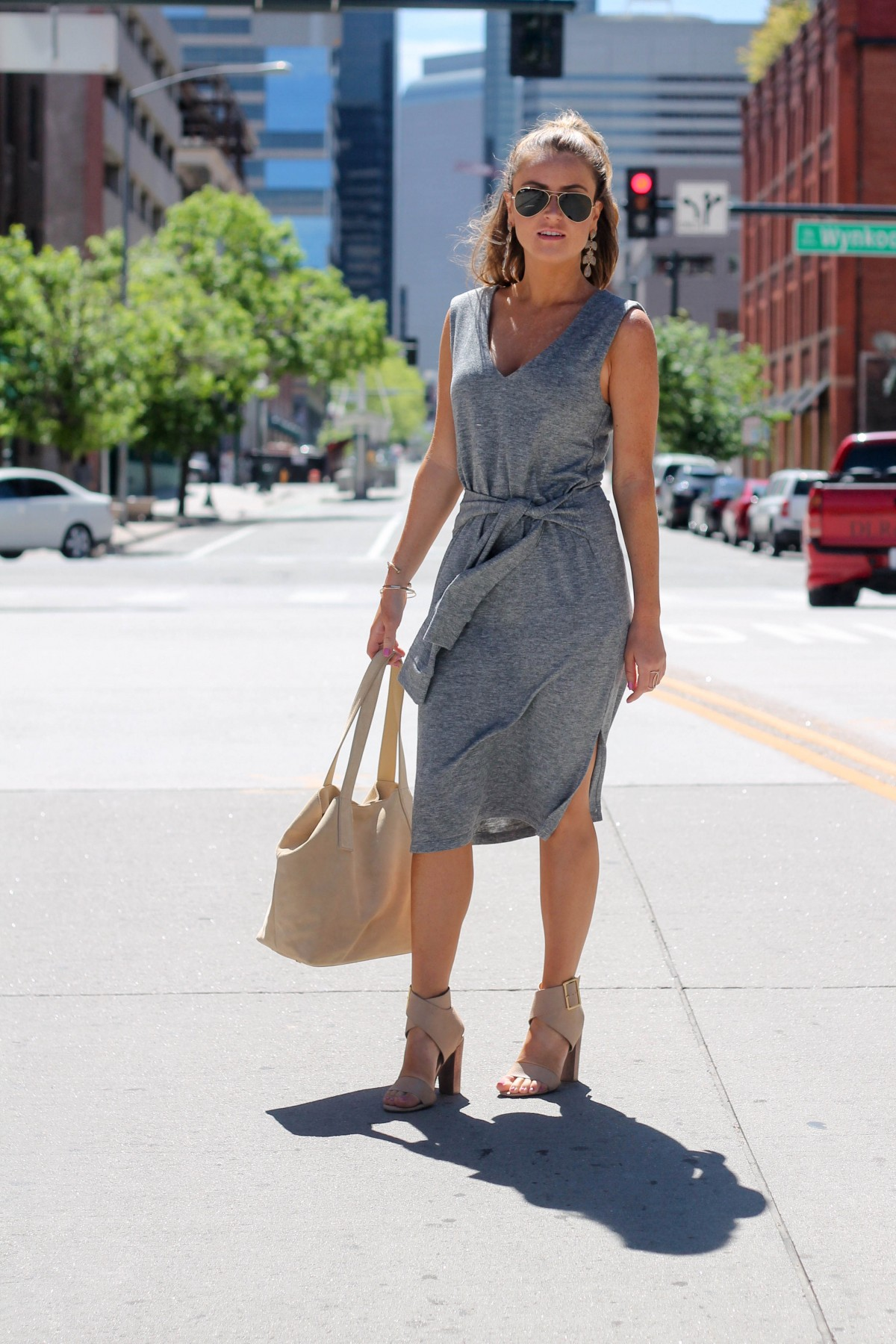 tie front casual spring dress