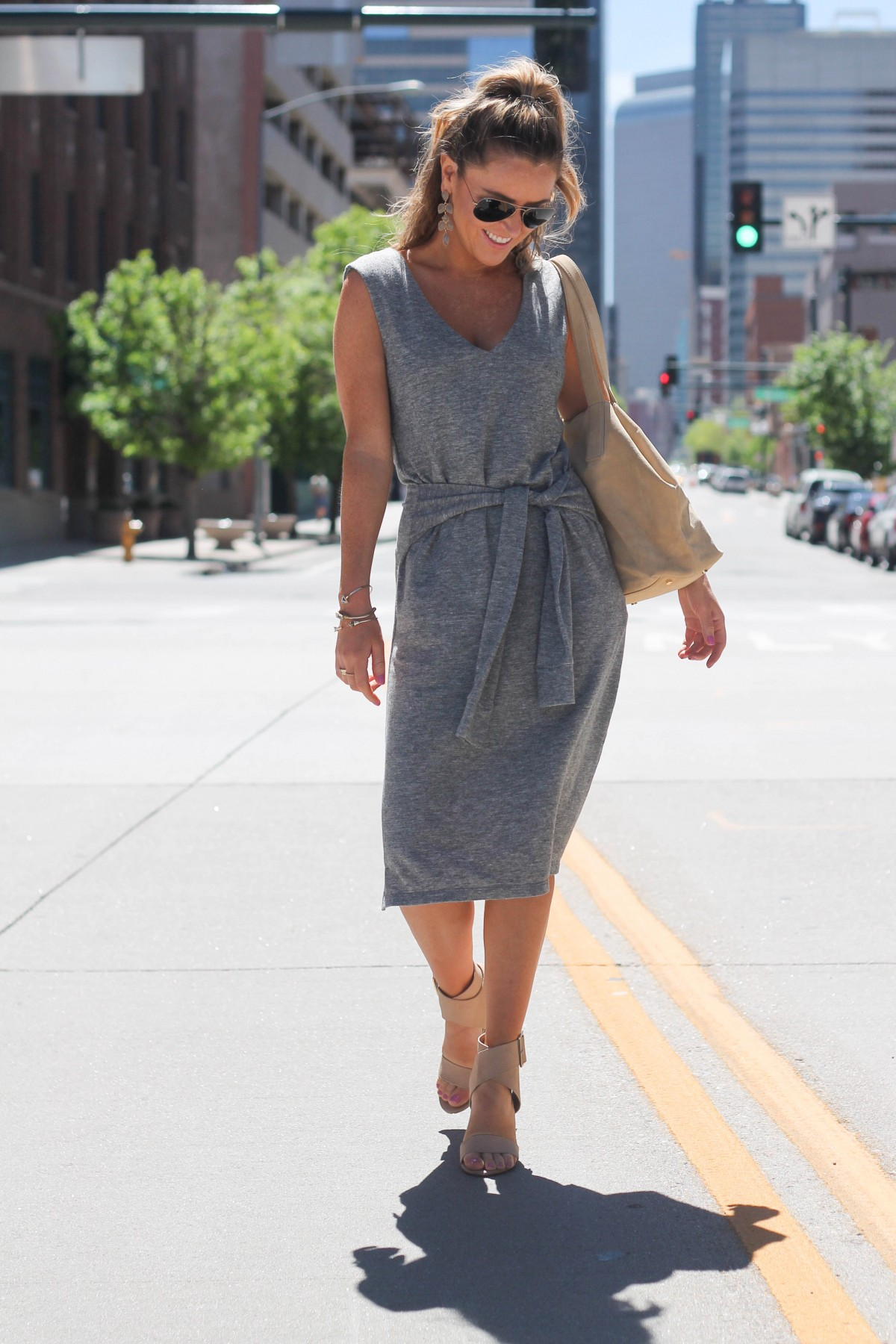 off duty summer tie front dress