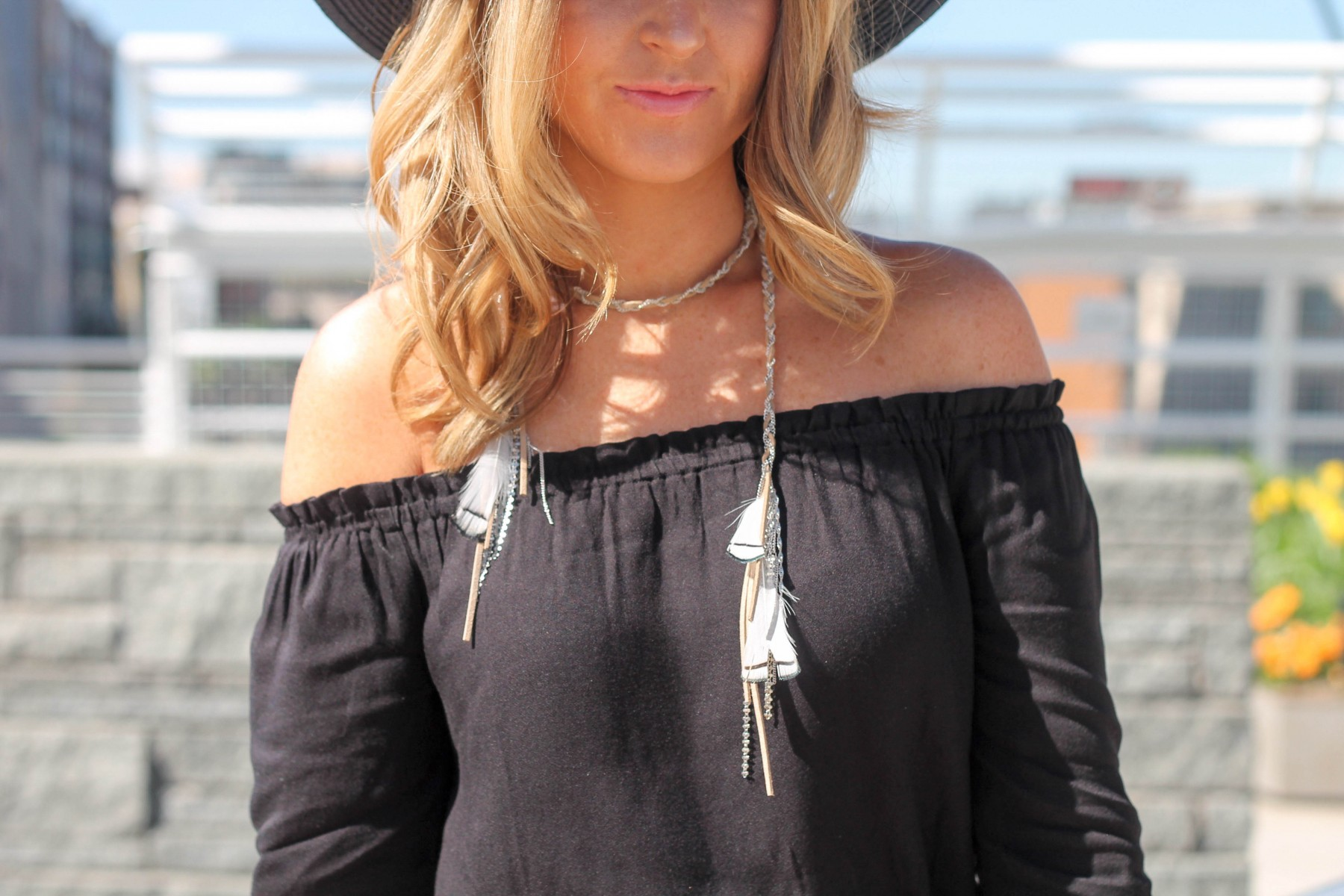 leather feather tie choker necklace