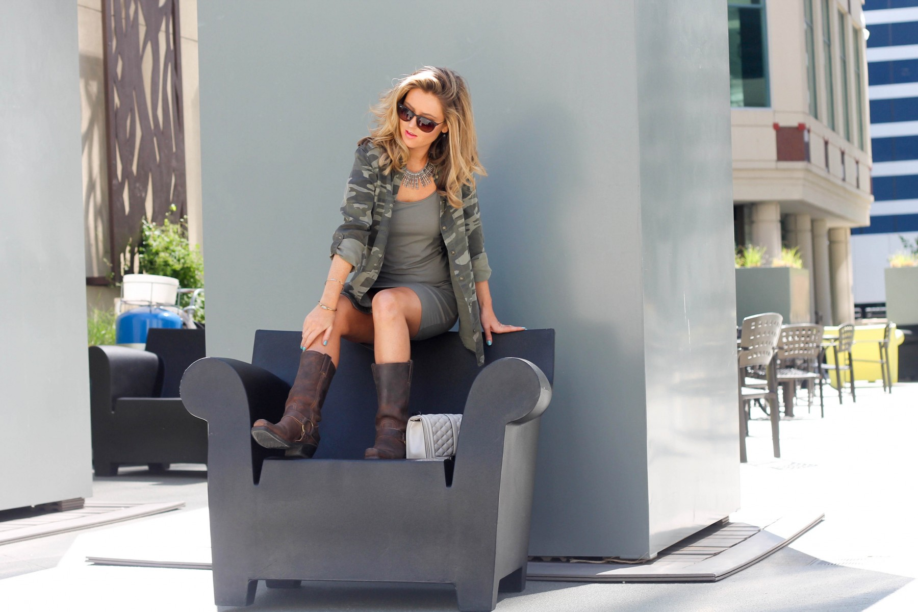 Spring army green outfit frye boots