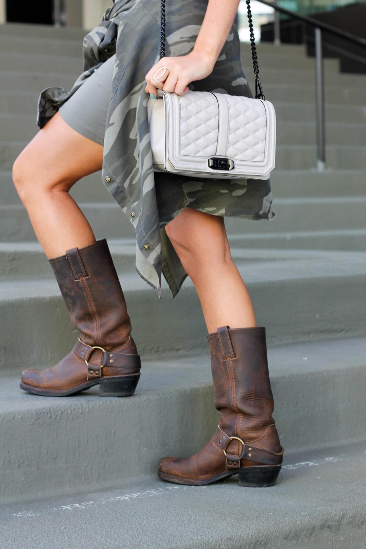 frye boots, army green dress, rebecca mink bag