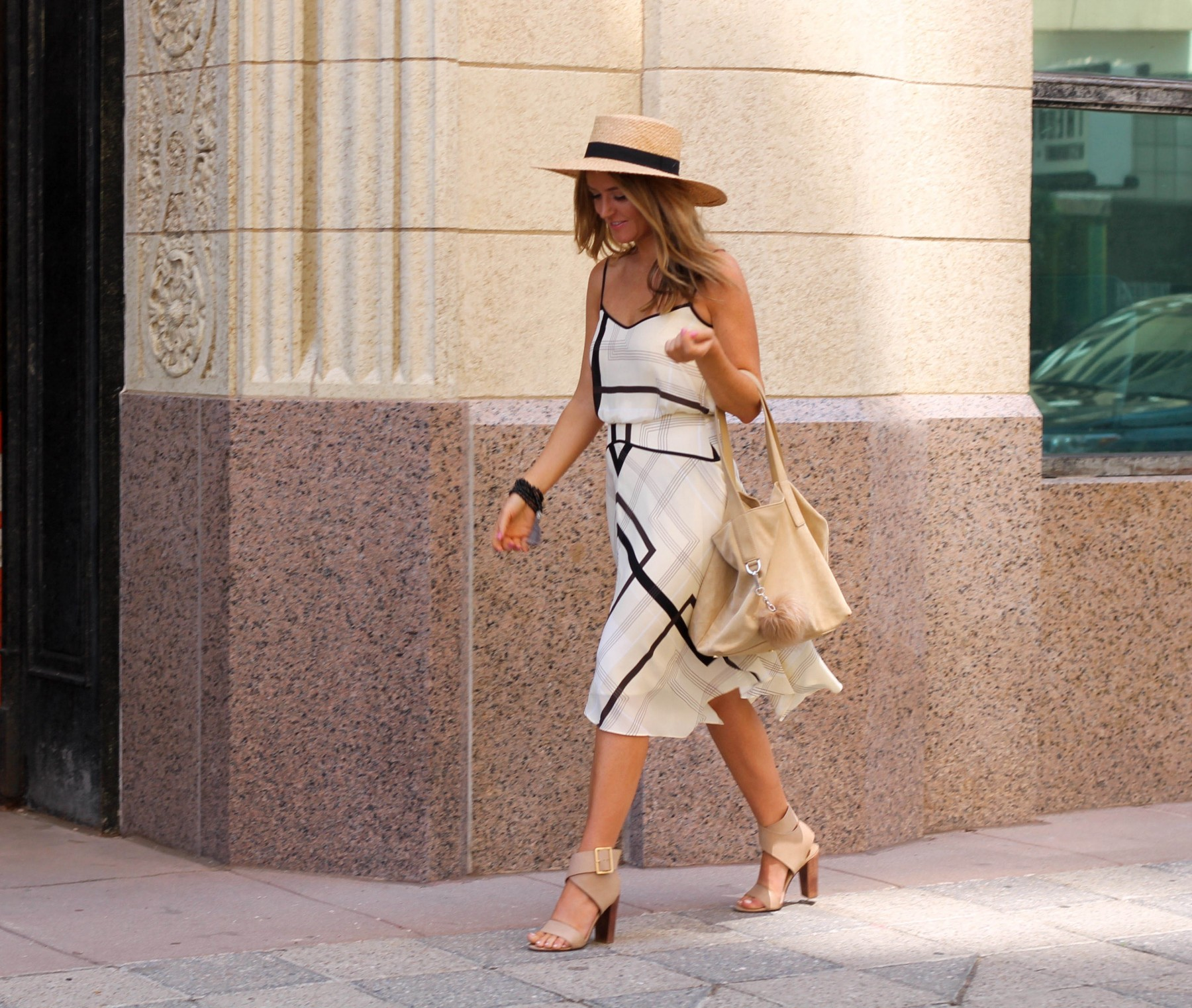 banana republic summer dress with boater hat trend