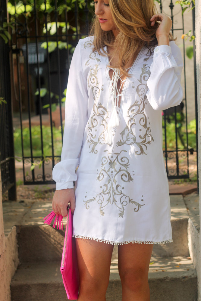 White lace up embroidered dress with tie lace up front
