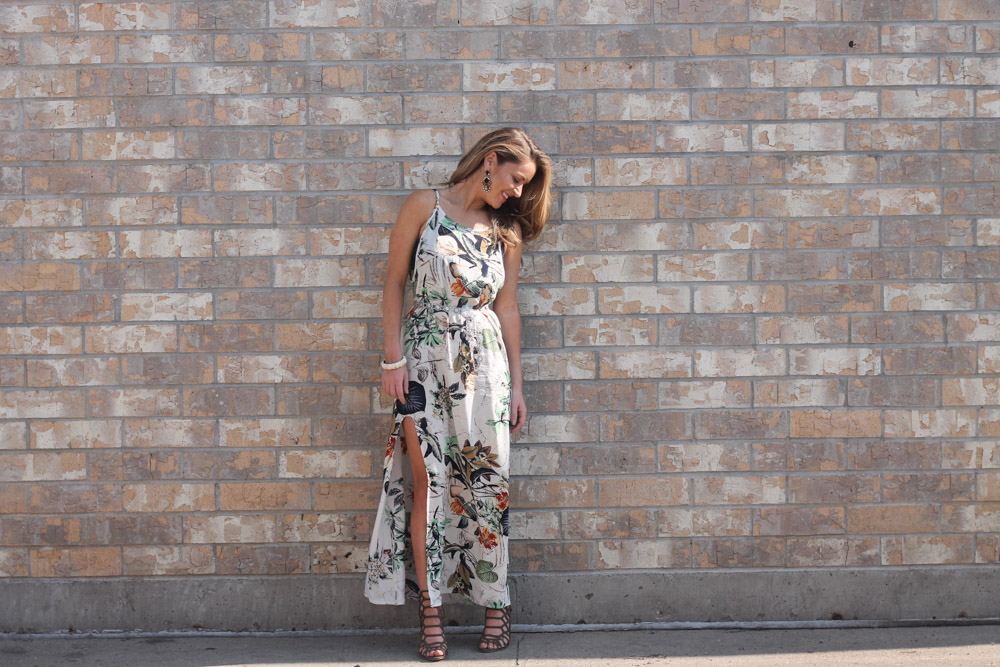Amber from every once in a style in a tropical print maxi dress