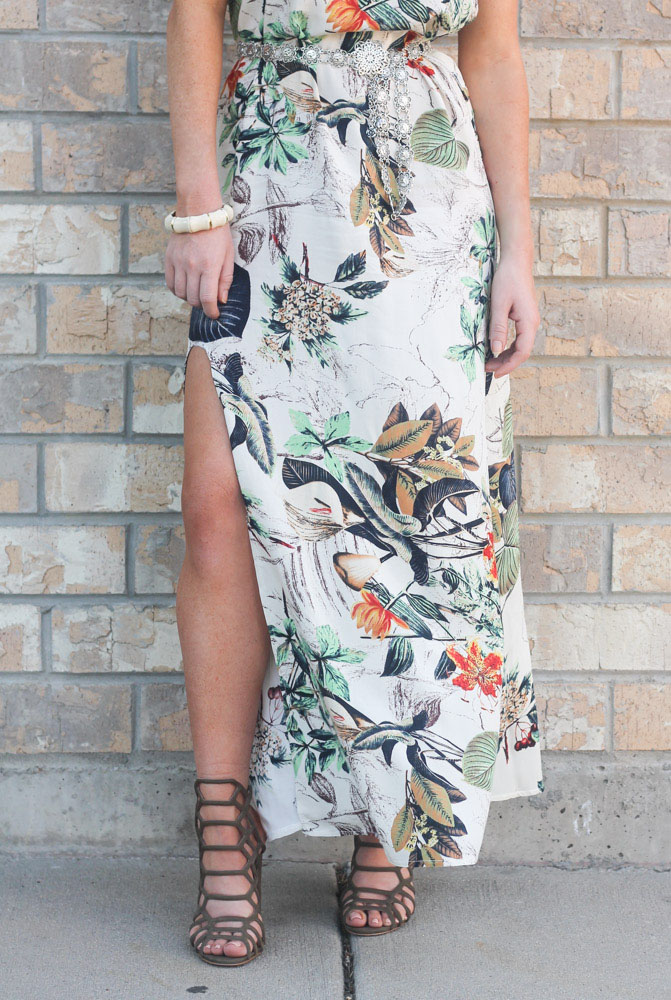 tropical print maxi dress with slit and caged heels