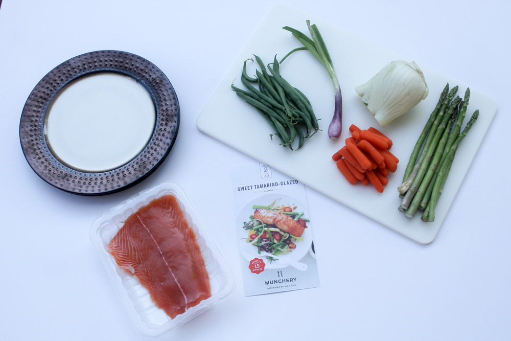 Munchery Plaid box ingredients for Sweet Tamarind-glazed salmon dinner