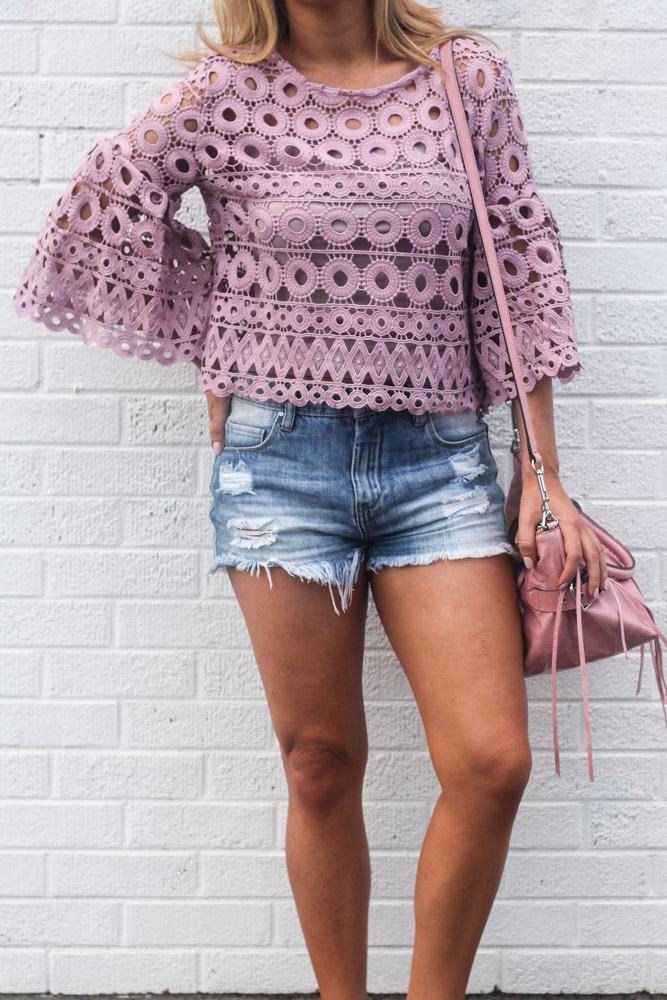 circle of love crochet top in lavender from chic wish blankNYC denim shorts