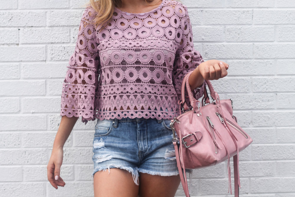 lavender crochet top from chic wish and pink rebecca minkoff bag
