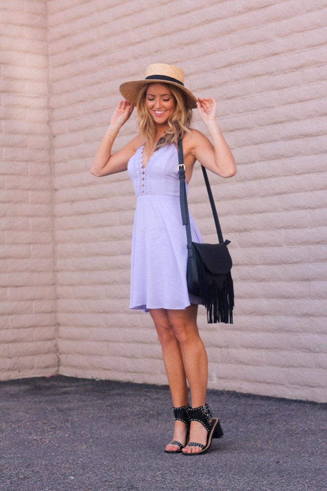 Amber from every once in a style wearing a Lush lavender dress and forever 21 studded sandals