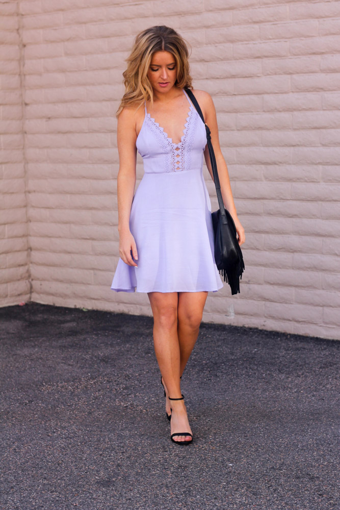 Amber from every once in a style wearing a Lush lavender dress steve madden staci heel