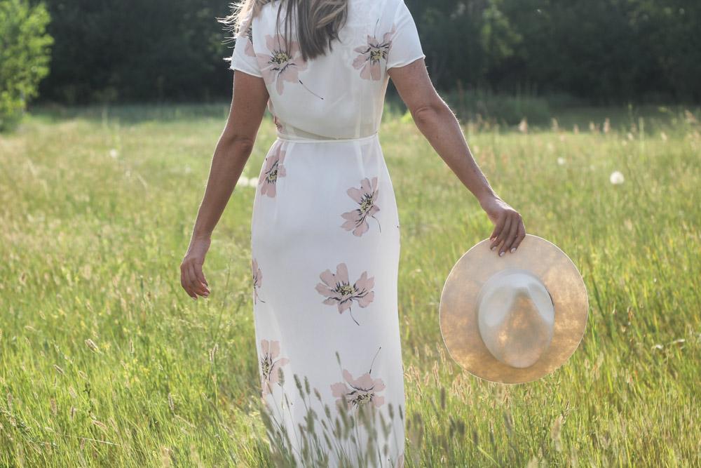 SheIn white floral print maxi and felt fedora
