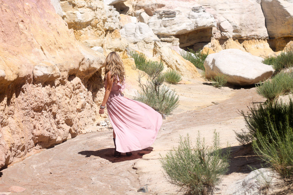 amber from every once in a style wearing a Forever 21 pink ruffle maxi dress at the Paint Mines