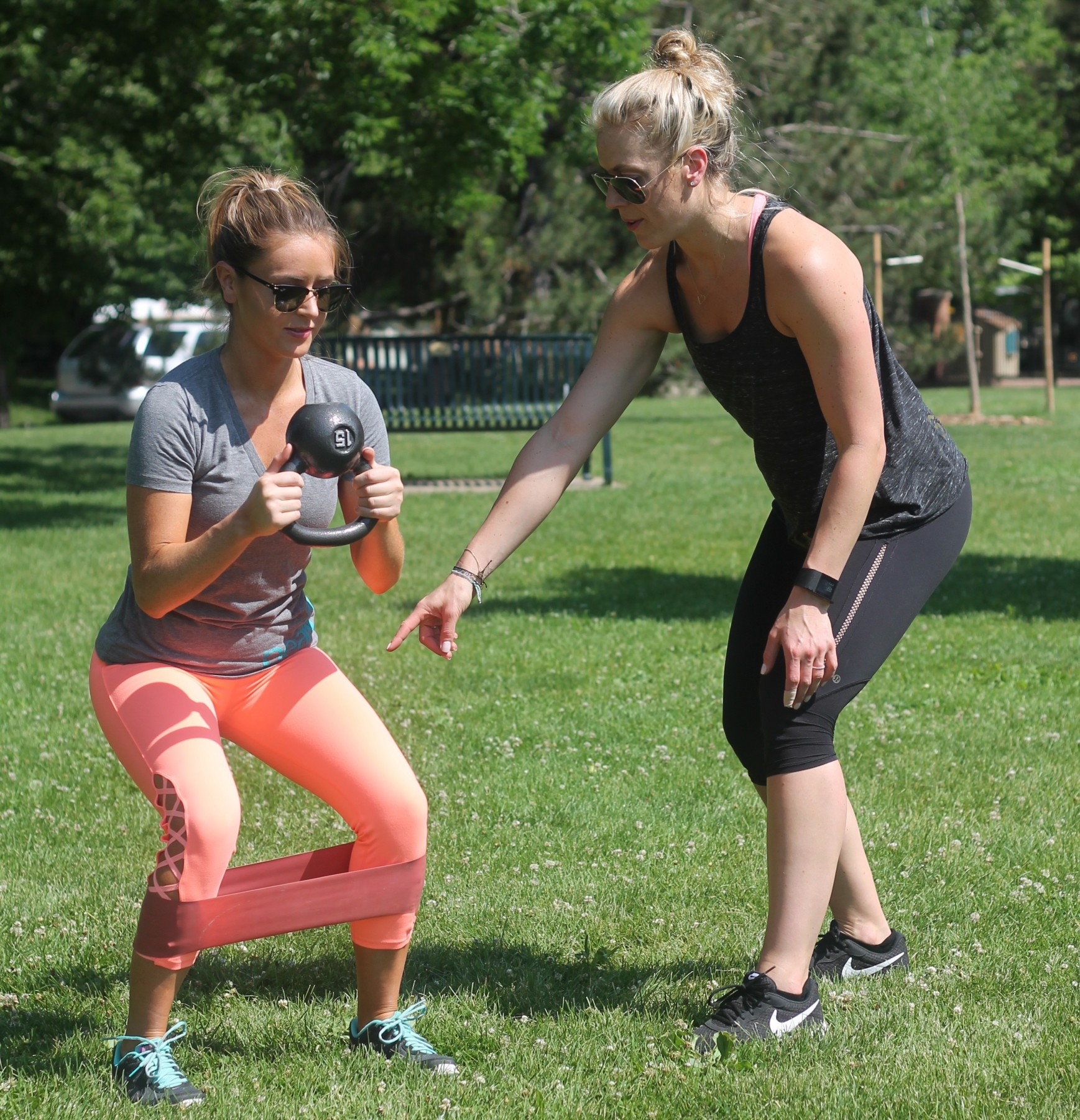 amber from every once in a style and niccole from peak 8 fitness denver training session