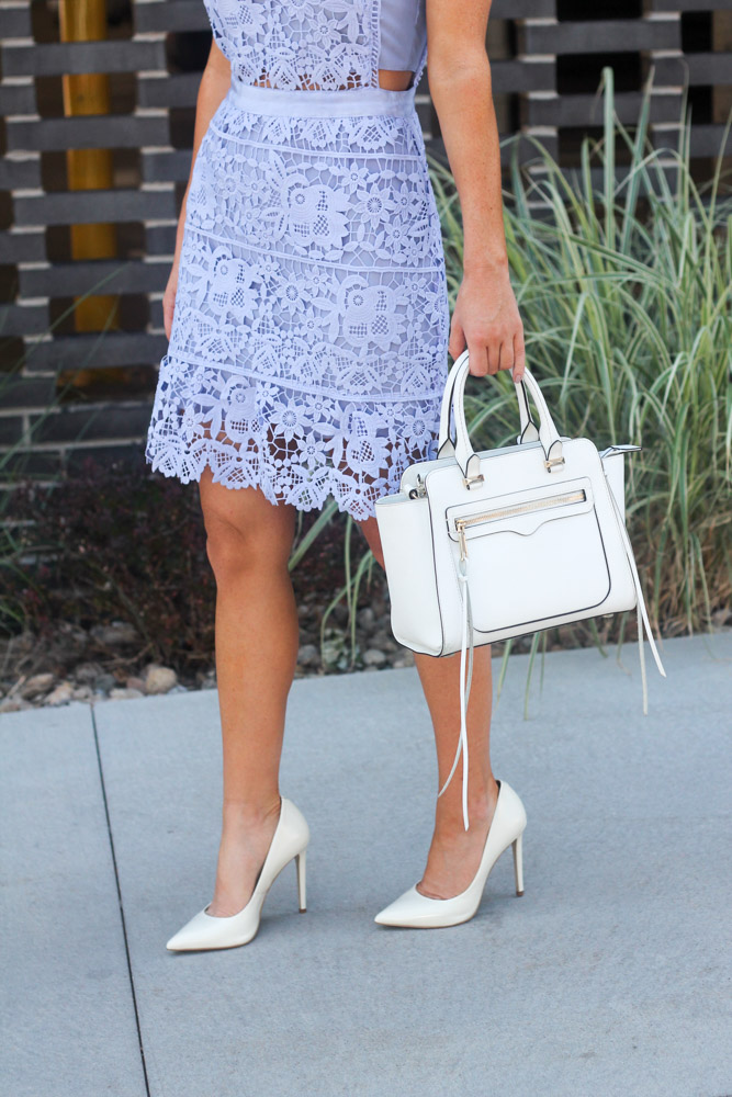 white pumps and Blue Side Hollow Lace A-Line Dress