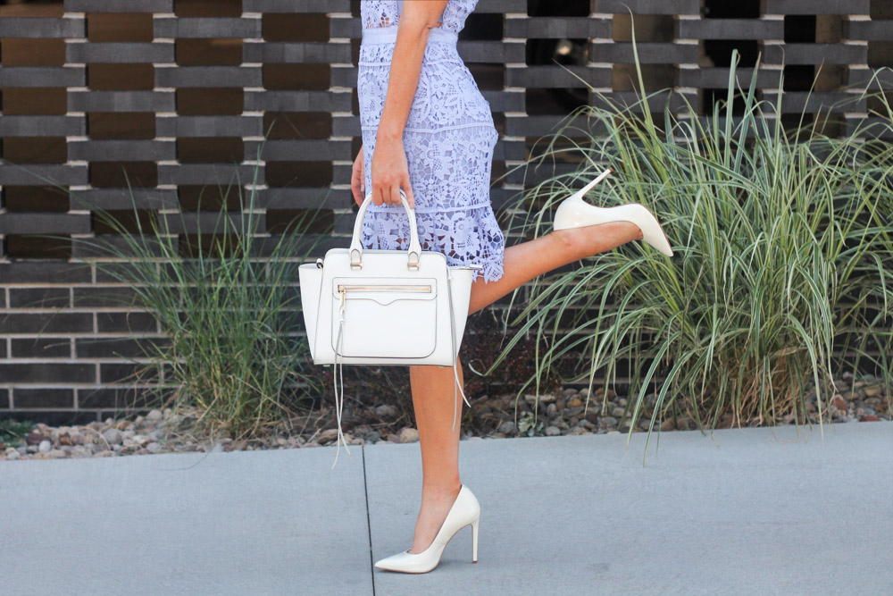 white steve madden pointed toe pump and rebecca minkoff white bag