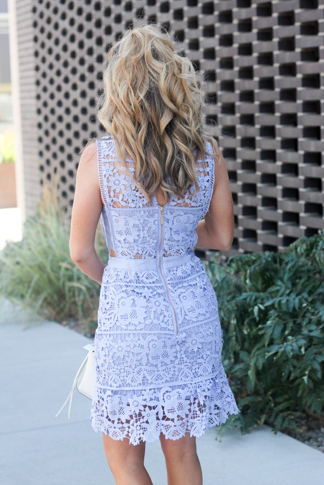Hair by Matthew Morris salon denver Blue Side Hollow Lace A-Line Dress