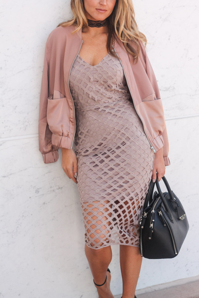 lace chocker and Missguided Strappy Lattice Midi Dress Mauve and rose bomber jacket