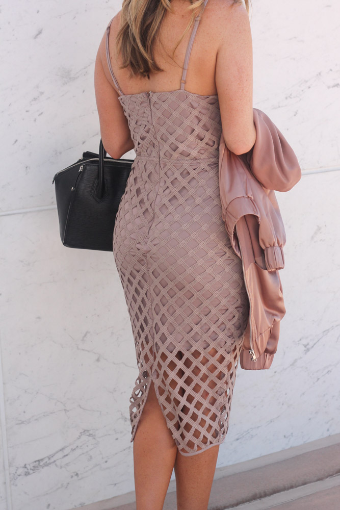 missguided lattise midi dress in mauve