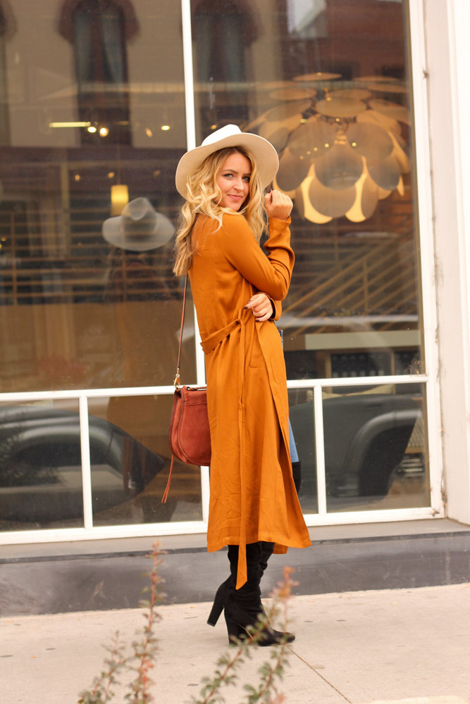 Amber from every once in a style wearing lack of color fedora and forever21 rust trench coat