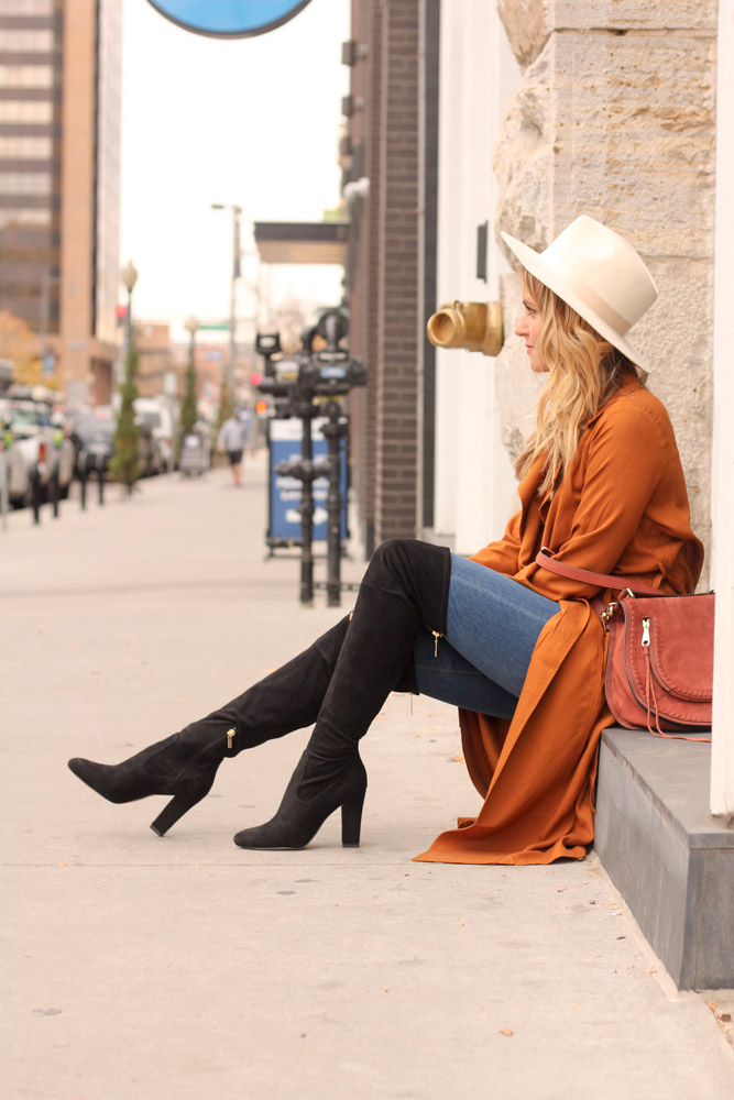 Amber from every once in a style wearing forever21 rust trench coat and rebecca mink off saddle bag