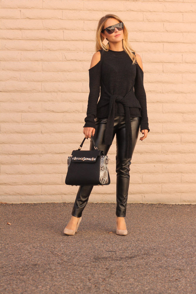 amber from every once in a style in chic wish faux leather pants and cold shoulder sweater