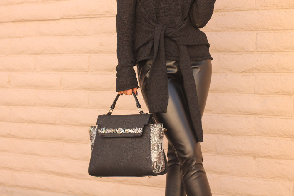 chic wish tie front sweater and charming charlie python satchel