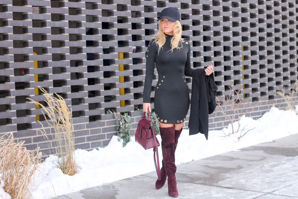 mber from Every Once in a Style wearing a black bodycon Shein Dress