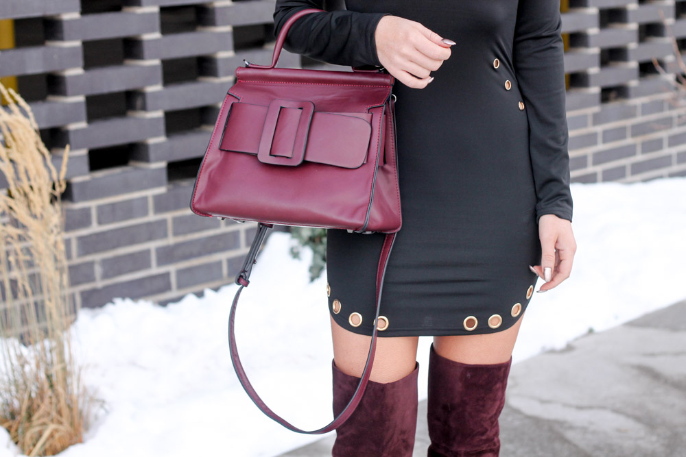 Amber from Every Once in a Style wearing a Jessica Burma Abina square buckle bag