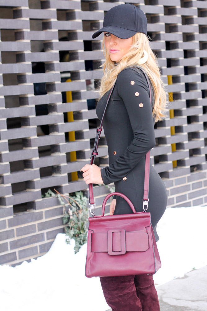 Amber from Every Once in a Style is wear wearing a Shein body con dress with a Jessica Burma abina square buckle bag