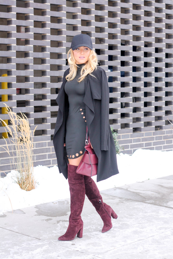 mber from Every Once in a Style wearing Marc Fisher Breley over the knee boot