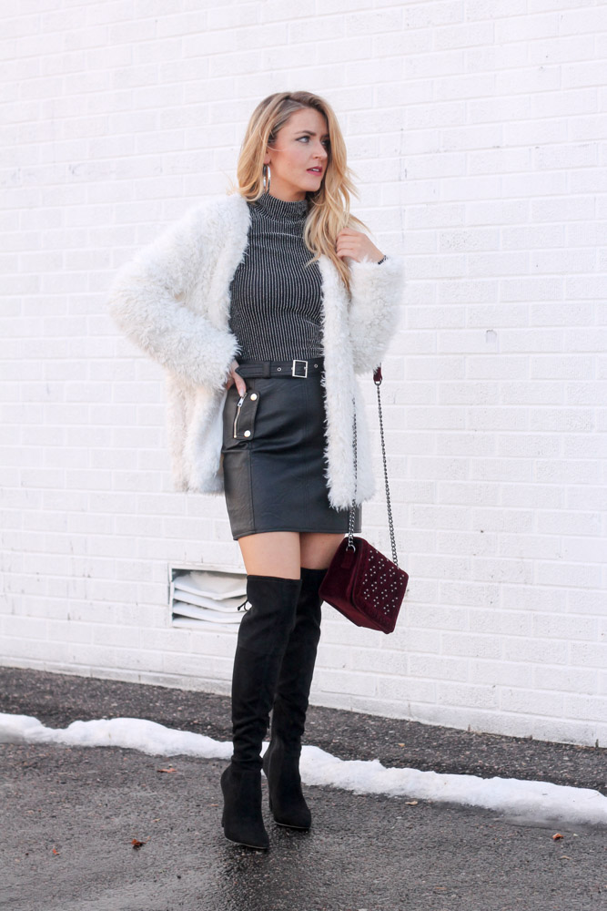 amber from everyonceinstyle wearing a leather skirt from toyshop